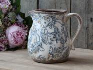 Kanne Krug Keramik creme blau Patina.  Chic Antique