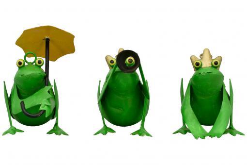 Frosch Metall Froschkönig Fernglas Deko Figur Skulptur Garten Terrasse 3 Modelle