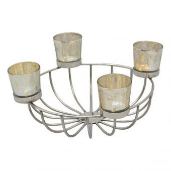Kerzenhalter Metall Edelstahl + 4 Teelichthalter moderne Alternative Adventkranz