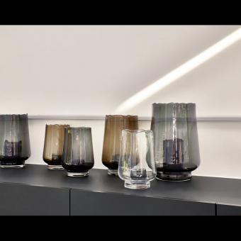 Exclusiv massiv Windlicht / Vase rauchgrau amber klar 3 Farben, 3 Grössen, Pomax