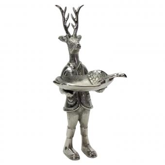 Hirsch Aluminium silber mit Schale Schlüsselablage Luxus Vintage Shabby Landhaus, Werner Voß