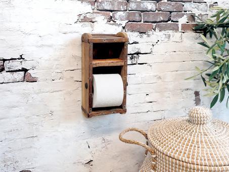 Chic Antique Toilettenpapierhalter Ziegelform Holz Brocante Shabby Landhaus