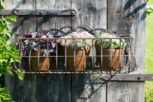 Wandkorb Blumenkorb Blumenkasten Aufbewahrung Korb Eisen braun Landhaus Shabby, 2 Grössen