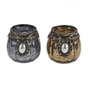 2 Teelichthalter Glas Metallrand Perle 2-er Set Orient Brocante Shabby Landhaus, Werner Voß