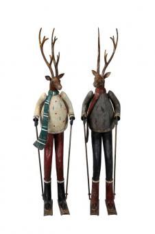 XL Hirsch Skulptur 66 cm Eisen bunt Ski Winter Weihnachten Landhaus Shabby