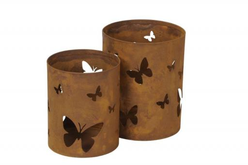 2-er Set Windlicht Rost Schmetterling 2 Laternen 25 + 21 cm, Shabby Landhaus