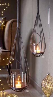 Hänge Windlicht Laterne Tropfen Old Style Metall schwarz braun, 2 Grössen