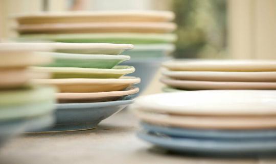 Teller klein Quaderni mint grün italienische Keramik Handarbeit Virginia Casa