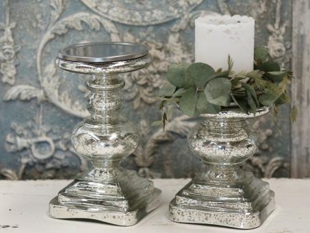Chic Antique Kerzenhalter Kerzenleuchter Bauernsilber + Schliff Shabby 2 Grössen
