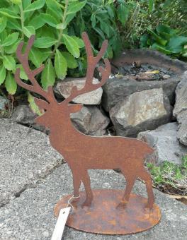 Hirsch auf Fuss Edelrost  Landhaus Weihnachten Winter Brocante