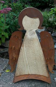 XL Engel 45 cm Holz Edelrost Flügel Landhaus Weihnachten Winter Brocante