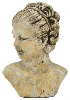 Frauen Büste Kopf creme natur braun Keramik Shabby Nostalgie Brocante Deko