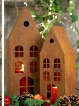 2-er Set Windlicht Haus Edelrost Weihnachten Landhaus Haus Garten Shabby