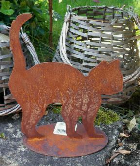 Katze mit Buckel Edelrost 25 cm, Shabby Landhaus Garten Terrasse