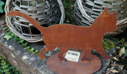 Katze Edelrost 25 cm, Shabby Landhaus Garten Terrasse