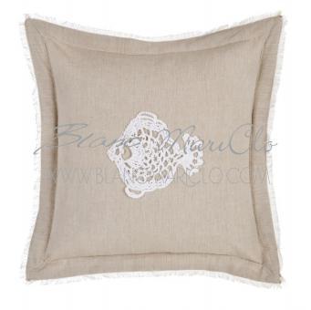 Kissen Crochet Fisch incl. Füllung 45 x 45  Blanc Mariclo