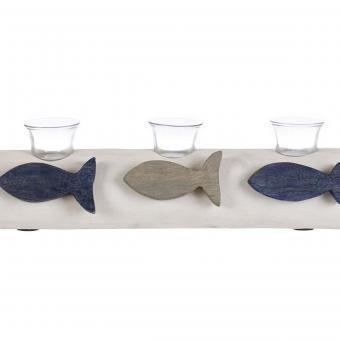 XL massiver Kerzenhalter Fisch maritim Holz, Blanc Mariclo