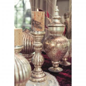 XL Kerzenständer Bauernsilber Glas  Kerzenleuchter 30 cm Shabby Vintage, Blanc Mariclo