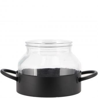Glas Windlicht Pavel 25 x 16  cm Metall schwarz Glas m. Griff edel schlicht