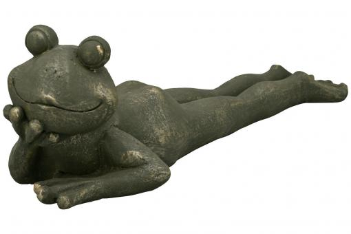 XXL Frosch Skulptur 70 cm Deko Garten Terrasse Balkon