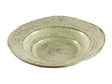 Suppen Teller pistazie grün Galestro vintage, italienische Keramik, Handarbeit, Virginia Casa